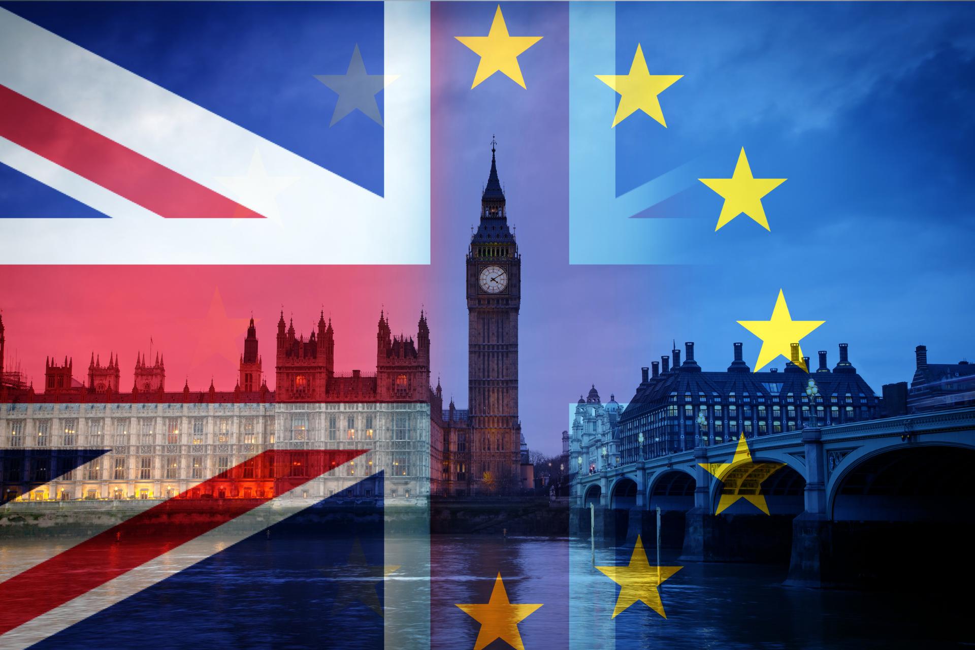 image of EU and British flag