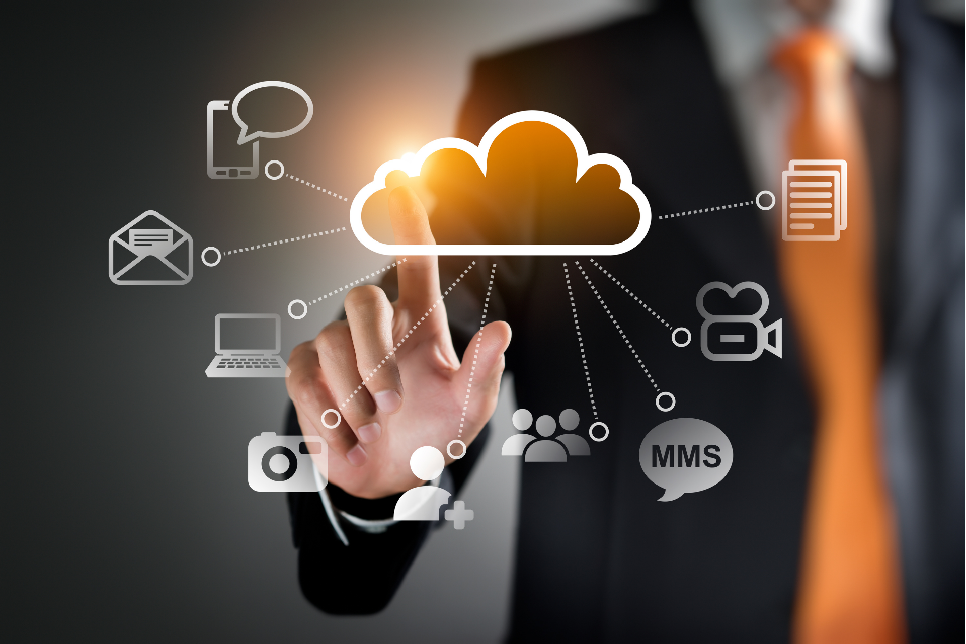 image of components of cloud computing on a clear screen
