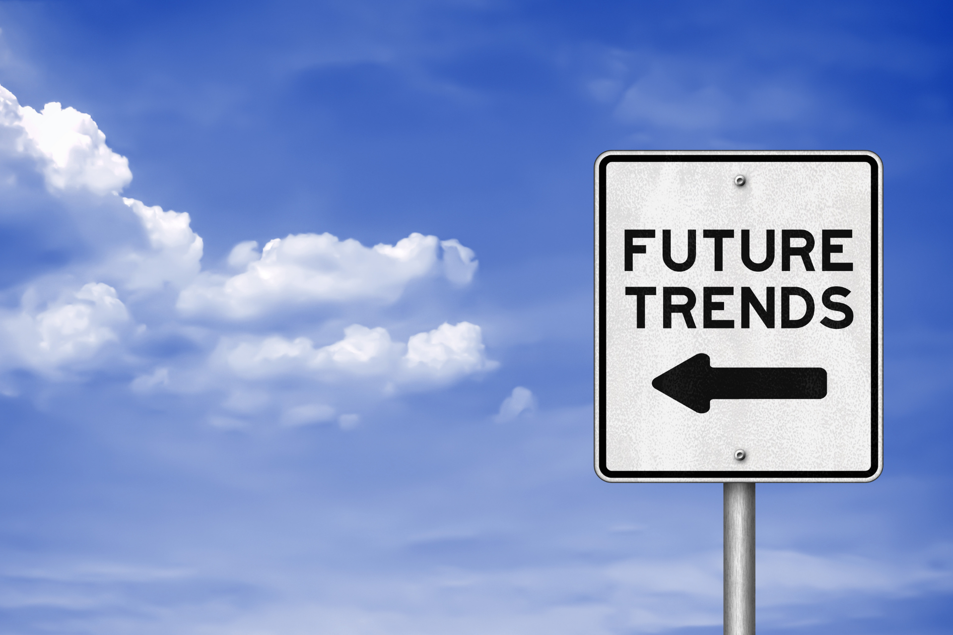 Image with a sign saying future trends